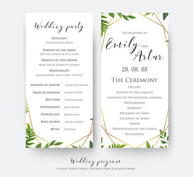 Wedding program card for ceremony and party with modern vector, floral, botanical design with green forest fern leaves, greenery border and elegant, golden, geometrical decoration. Beautiful template