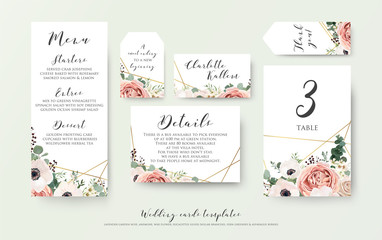 Wedding menu, information, label, table number and place card design with elegant lavender pink garden rose, anemone, wax flowers eucalyptus branches, leaves & cute golden pattern. Vector template set