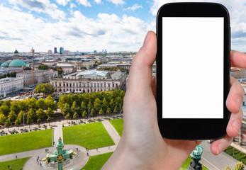 tourist photographs Lustgarten park in Berlin