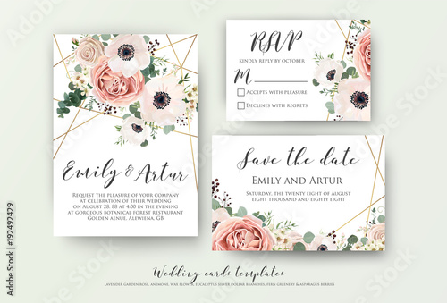Wedding invite invitation rsvp save the date card design with wedding invite invitation rsvp save the date card design with elegant lavender pink stopboris Images