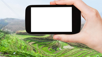 tourist photographs Rice Terraces near Tiantouzhai