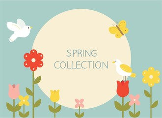 Spring flowers and birds in bright color illustration