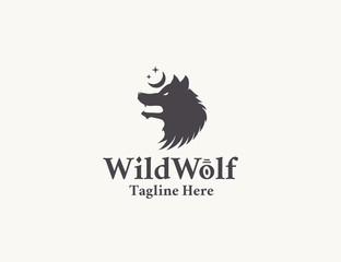 Tribal esoteric wolf logo. Vector illustration with wolf head, moon and stars