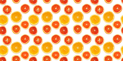 Fototapete - Seamless pattern of fresh oranges isolated on white background, top view, flat lay. Food texture background. Healthy food, detox, diet.