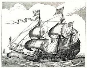 16th century duch warship, copper engraving by Claes Janszoon Visscher (from Spamers Illustrierte Weltgeschichte, 1894, 5[1], 723)