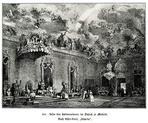 The Throne Room, Royal Palace, Madrid; painting of Jenaro Pérez Villaamil (from Spamers Illustrierte Weltgeschichte, 1894, 5[1], 737)