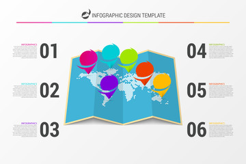 World map concept. Infographic design template. Vector