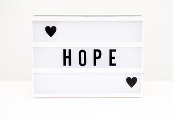 hope text on the withe background
