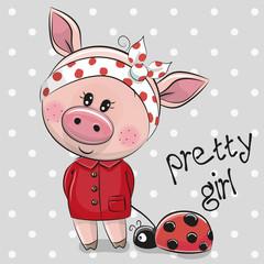 Cute Cartoon Piggy Girl in a red coat