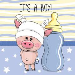Cute Cartoon Pig with feeding bottle