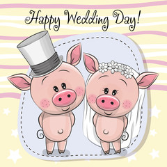 Greeting card Piggy Bride and Piggy groom