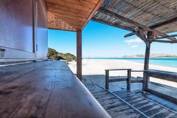 wooden porch in La Pelosa