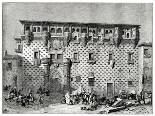 Palace of the Dukes of the Infantado, Guadalajara, Spain, painting of Jenaro Pérez Villaamil (from Spamers Illustrierte Weltgeschichte, 1894, 5[1], 740)