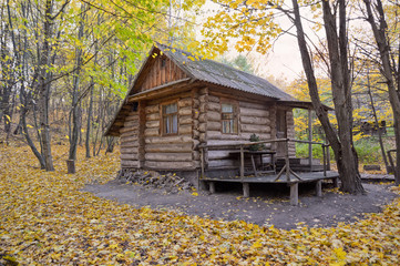 Lodge surrounded by varicolored trees of greenwood in fall season