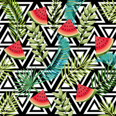 tropical flower and watermelon with abstract background vector illustration design leaves and flowers, summer and geometric pattern
