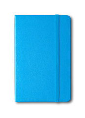 blue closed notebook isolated on white