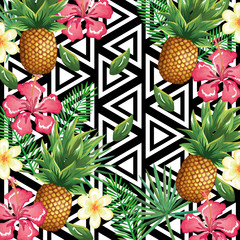 tropical flower and pineapple with abstract background vector illustration design leaves and flowers, summer and geometric pattern