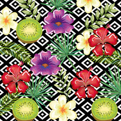 tropical flower and kiwi with abstract background vector illustration design leaves and flowers, summer and geometric pattern