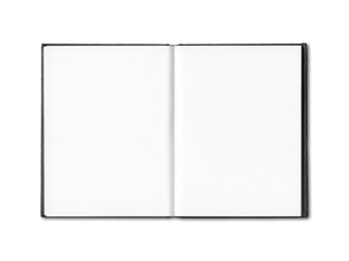 Blank open notebook isolated on white