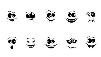 Set of emoticons, emoji icon isolated on white background. Black and white