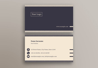 Business Card with Navy and Cream Accents