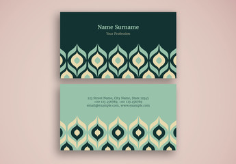 Business Card with  Repeating Ornamental Pattern