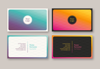 Business Card with Bright Gradient Layout