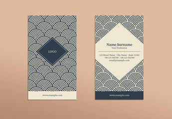 Business Card with Repeating Circles and Diamond Elements