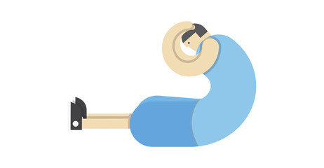 a man warms up his muscles, exercises gymnastics, the athlete stretches,Vector image, flat design, animated cartoon character