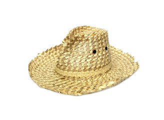 Old straw hat on a white background.