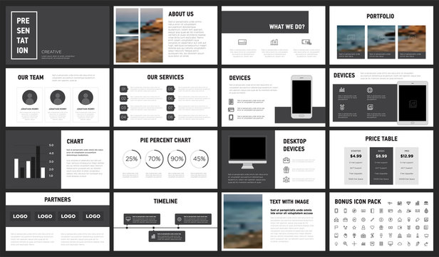 Modern Minimalist Black and White Presentation Template. You can use it presentation, flyer and leaflet, corporate report, marketing, pitch, annual report, catalog.