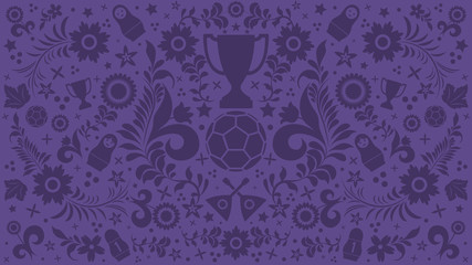 Background with russian patterns and elements. Football 2018. Vector illustration
