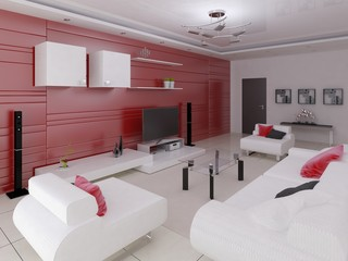 Hi-tech living room with fashionable modern furniture and a light background.