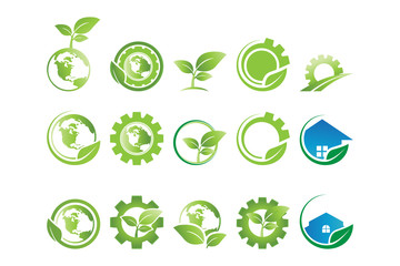 Collection of gear and leaf go green agriculture logo and icon template vector