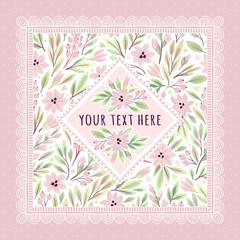 Template of postcard or invitation with decorative elements. Decorative flowers. Can be used for scrapbook, banner, print, etc.
