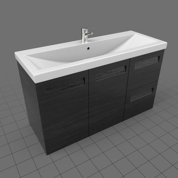 Rectangular sink with cabinet