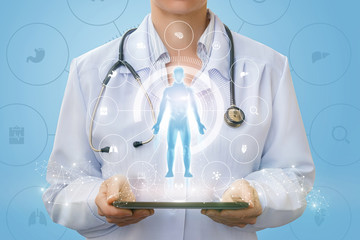 Doctor on the tablet shows a hologram of a man .