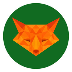 Fox in lowpoly style on forest green backgound