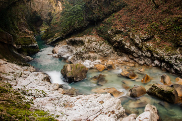 Scenic blue mountain river in Georgia. Martvili canyon. Okatse canyon