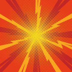 Comic pop art background lightning blast halftone dots.