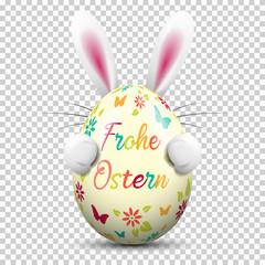 Frohe Ostern Osterei bunt bemalt mit Osterhase auf transparentem Hintergrund