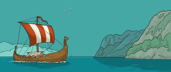 Drakkar floating on the fjord in Norway. Vintage color engraving