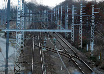 General view shows rail tracks of the French state-owned railway company SNCF at the station of Castelnau d'Estretefonds