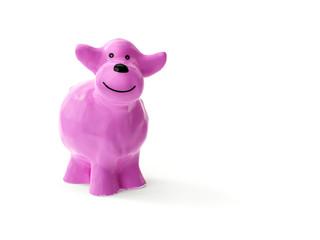 a sweet little pink ceramic sheep