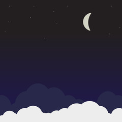 Night sky landscape view vector. Dark sky width clouds, moon and many stars.