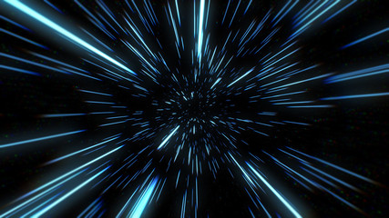 Papiers peints Univers Abstract of warp or hyperspace motion in blue star trail. Exploding and expanding movement 3d illustration