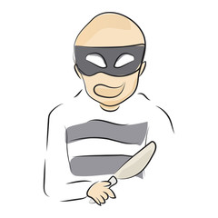graphic design editable for your design, hand drawn robber isolated on white background. vector illustration.
