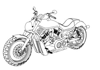 sketch of a motorcycle vector.