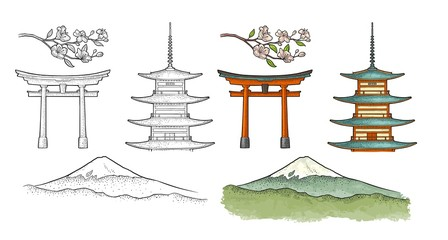 Mountain Fuji in Japan. Vintage color vector engraving illustration