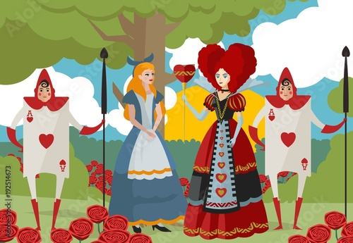 alice in wonderland with queen of hearts and card soldiers stock